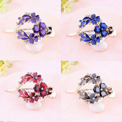 Women's Comb Clips Flower Accessories Crystal Pins Grips Hair Barrettes Slide