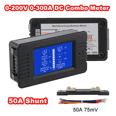 LCD Display DC Battery Monitor Meter 0-200V Voltmeter Ammeter 50A Shunt BI1340