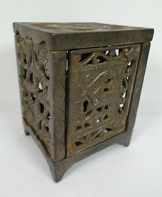 Antique / Vintage Cast Iron Safe Coin Saving Deposit Bank No Key
