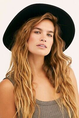 NWOT Free People Black Wool Felt Marlow Fedora Hat with Feathers One Size
