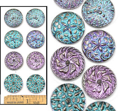 18mm Vintage Czech Glass Lilac AB Shankless No Shank Cabochon Buttons 4PAIRS 8pc