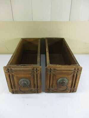 Antique AMERICAN Treadle Sewing Machine Cabinet Drawers w/ Rings Set of 2