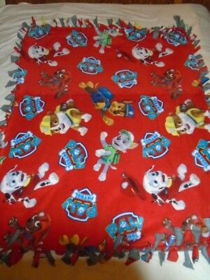 Rescue Hero Puppies Paw Patrol  Hand Tied Double Sided Rag Fleece Blanket~New