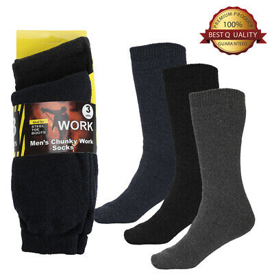 3 Pair Mens Heavy Duty Extra Thick Thermal Heated Warm Socks Insulated Boot 9-13