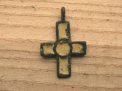 Nice Viking Bronze Cross Pendant yellow & green Enamel 10-13 AD Kievan Rus