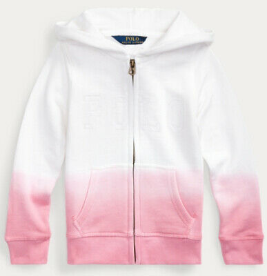 Girls Ralph Lauren White & Pink Dip Dyed French Terry Hoodie - 3yrs to 12-14yrs