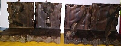 Two Sets Of Vintage Wooden Book Ends:pirate Cutless & Morning Star
