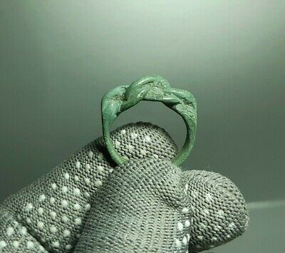 Rare Ancient Antique Bronze jewelry Twisted Ring Viking Age 9-12 cen.AD #2649
