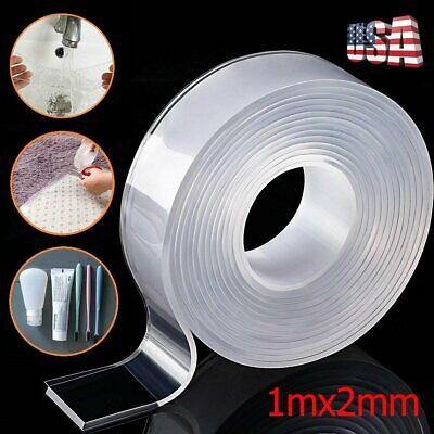 1M/3.3ft Washable Nano Magic Tape Double-Sided Traceless Invisible Adhesive Gel