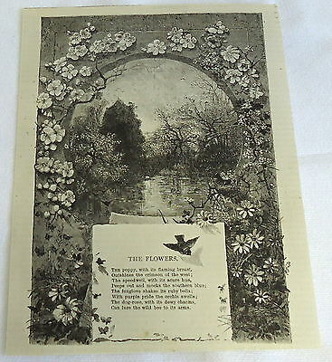 1882 magazine engraving ~ THE FLOWERS poem