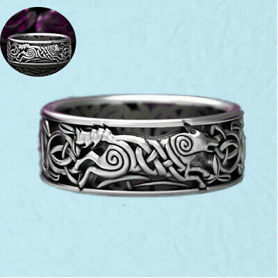 925 Silver Vintage Engagement Band Ring Jewelry Wolf Men's Celtic Wedding Knot