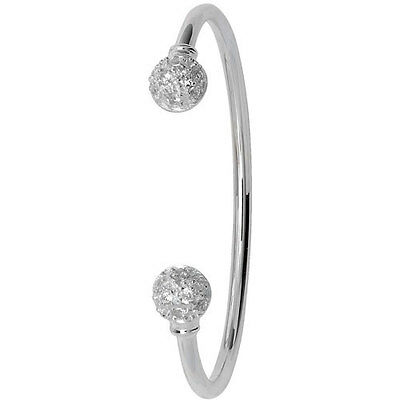 Sterling Silver Baby Bangle Sparkly Torque Christening Gift