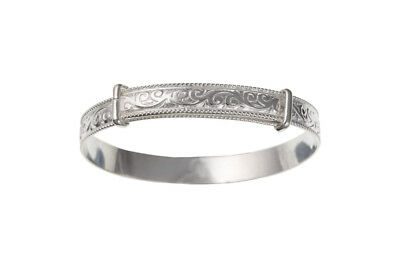 Solid Silver Childrens Bangle 3 to 7 years Patterned Adjustable 925 hallmark