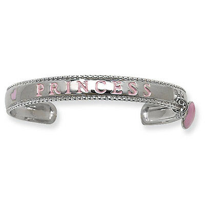 Princess Silver Baby Bangle Solid Sterling Silver 925 Christening Gift