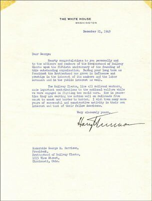 Harry S Truman - Typed Letter Signed 12/21/1949