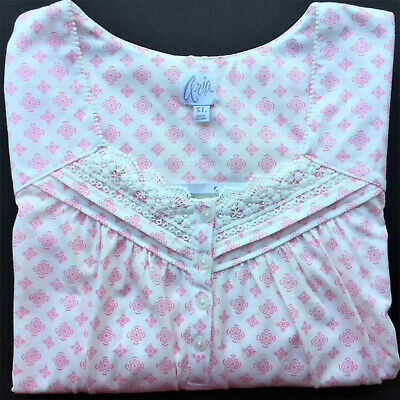 Aria nightgown XL $52 SOFT lace pink geo floral cotton blend short 3/4 sleeve