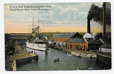 WASH U.S.S. NEW YORK SHIP AT DRY DOCK PUGET SOUND NAVY YARD Post Card #4163