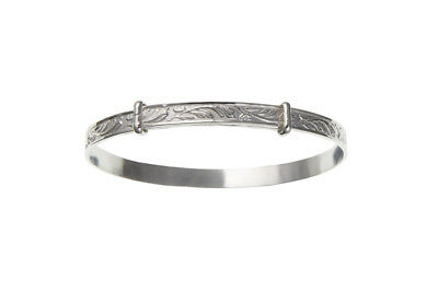 Solid Silver Childrens Bangle 3 - 7 years Adjustable Patterned 925 Hallmark