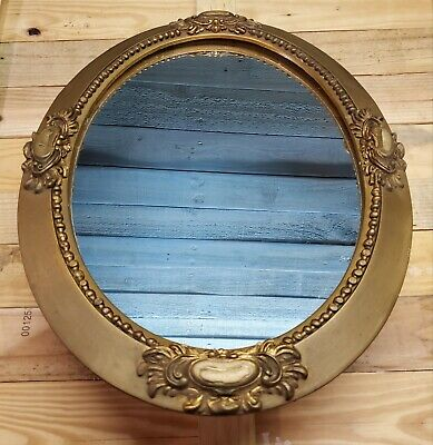 """Vintage Antique Ornate Gold Gesso Wood Framed Wall Mirror Oval 23"""" x 17"""""""