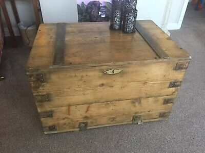 Pine Trunk Chest Storage Blanket Box antique Waxed rustic original