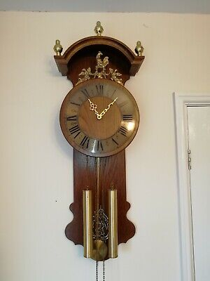 Old Dutch Wall Clock  Friesian Style Twin Weight Driven Strikes Hour Half Hour.