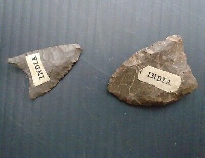 2 x Stone Flint Arrow Heads Tool India Neolithic Mesolithic Prehistoric Indian