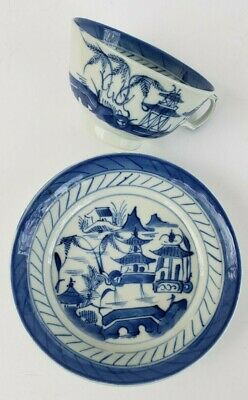 Antique Chinese Cup and Plate Canton Blue & White 19thC Qing Dynasty Daoguang