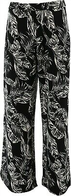 Dennis Basso Printed Luxe Crepe Wide-Leg Pants Black Palm M NEW A350772