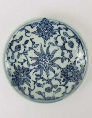 Antique Chinese Blue and White Porcelain Plate Qing Dynasty 19thC