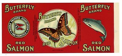 BUTTERFLY, Vintage Alaska Packers Salmon, *AN ORIGINAL 1930's TIN CAN LABEL*