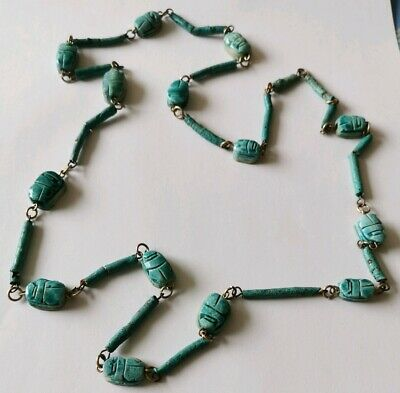 Vintage Egyptian Revival Scarab Beetle Ceramic Necklace Turquoise Blue