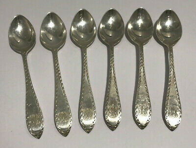 SET OF 6 POINTED ANTIQUE ENGRAVED CA.1890s STERLING SILVER DOMINICK & HAFF 83.6g