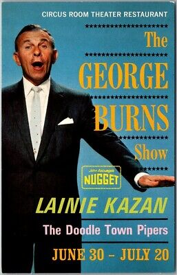 "Reno, Nevada Postcard NUGGET CASINO ""The George Burns Show"" Advertising c1950s"