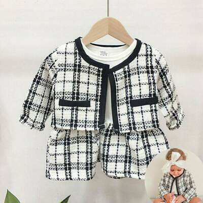 UK Toddler Kids Baby Girl Formal Outfits Plaid Tops Coat Shirt Dress Clothes Set