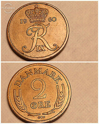 EXTREMELY RARE 2 ORE UNC COIN 1960 YEAR KM#847 BRONZE ! DENMARK