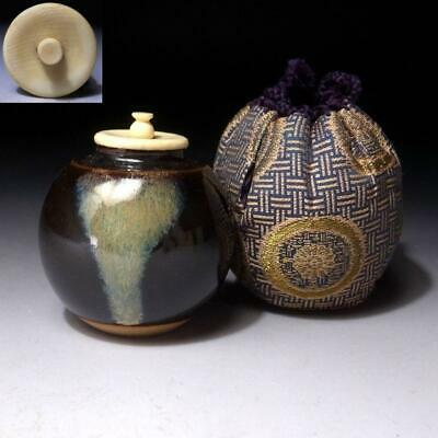 EF25 Vintage Japanese Pottery Tea Caddy with High-class lid, Seto ware