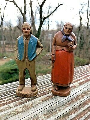 Vintage Antique Hand-Carved Wooden Man Woman Figurine Statues   - FREE SHIPPING