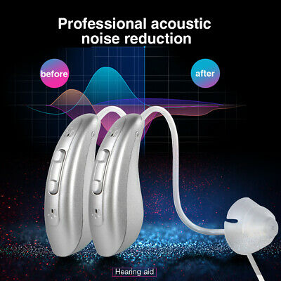 1Pair Digital Hearing Aid BTE Rechargeable Hearing Aids Device Sound Amplifier