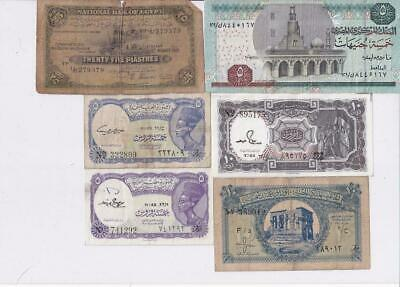 6 Different Old Egypt Banknotes   F5