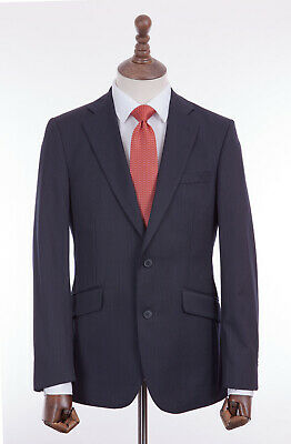 Men's Navy Blue Pinstripe Suit Regular Fit Thomas Nash Wool Blend