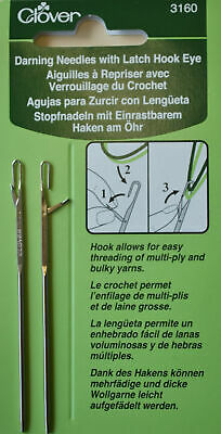 WOOL/DARNING NEEDLE - Latch Opening Eye (no more threading) by Clover - Qty 2/Pk
