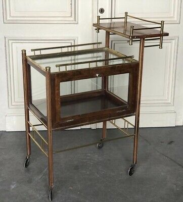 French Drinks Cart/Trolley Bar, Cocktails, Mahogany And Brass Circa 1925