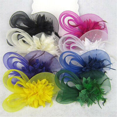 Feather Fascinator Hair Clip Bridal Headband Festival Headwear Wedding Hat