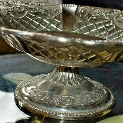 Antique  French Silver Plated  Comport 10 Ins Wide