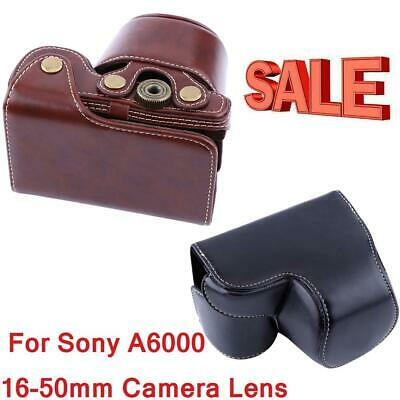 PU Leather Camera Case Pouch Bag For Sony A6000 16-50mm Camera Lens with Strap