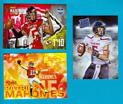 MAHOMES KC Chiefs 3 CARD LOT RATED ROOKIE Texas Tech 2017 NFL PRO FOCUS DRAFT RC