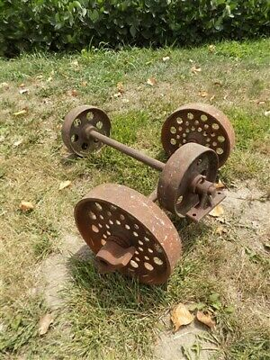 4 Factory Cart Wheels & 2 Axles Cast Iron Vintage Lineberry Industrial Wheel a23