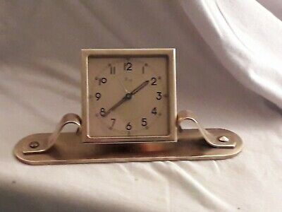 Antique French Dep Solid Brass 8 day alarm Desk Clock For Repair