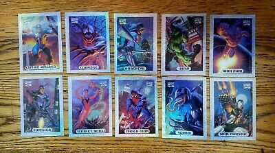 1994 Marvel Masterpieces Silver HOLOFOIL 10-card chase set  NM/MT condition!