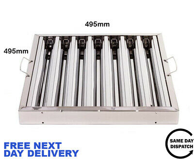 Canopy Grease Baffle Filter Stainless Steel Kitchen Extraction Hood 495x495mm